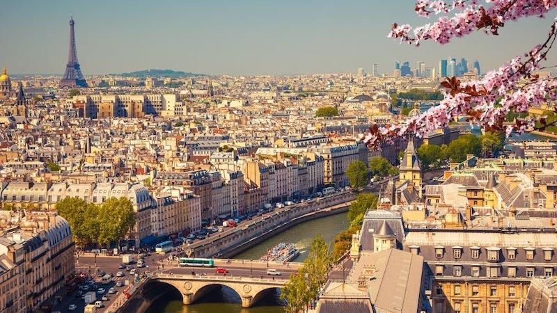 Vista do entardecer em Paris
