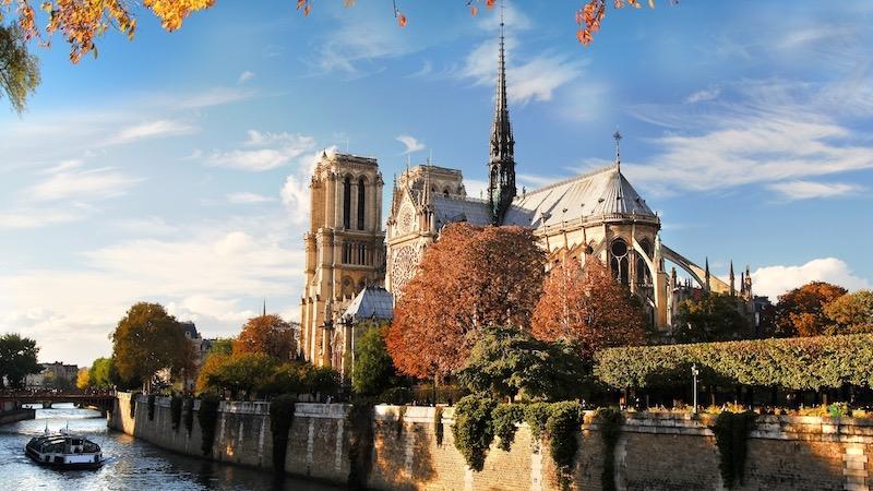 Região da Catedral de Notre Dame em Paris